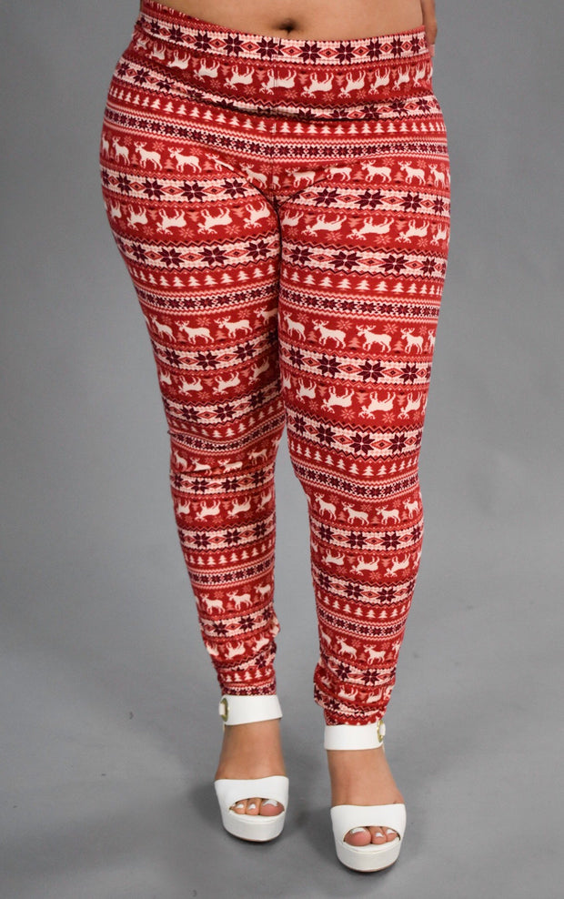 Leg-20. Happy Holidays Red Snowflake/Deer Leggings X-PLUS