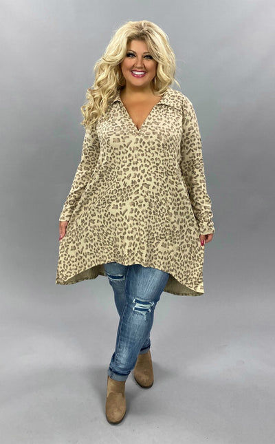 PLS-N {Cool Again} SALE!!  Taupe Leopard V-Neck Collar Knit Tunic EXTENDED PLUS SIZE 3X 4X 5X 6X