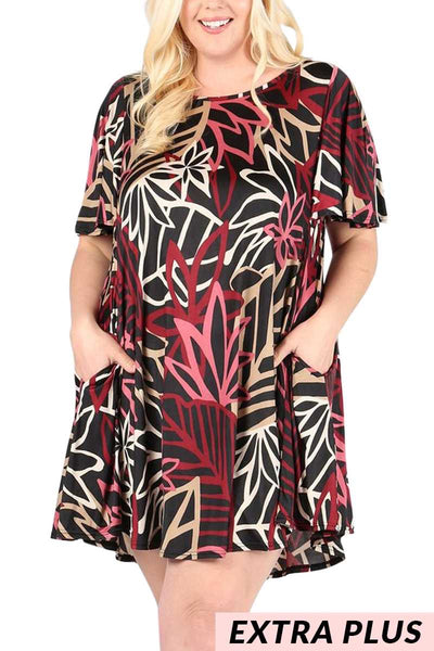 PSS-M{Marooned On An Island}Black/Burg Dress EXTENDED PLUS SIZE 3X 4X 5X