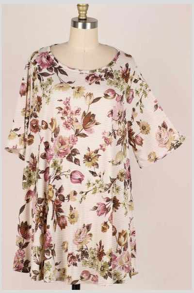 65 PSS-C {Sandy Kisses} Taupe Striped Floral Print Tunic EXTENDED PLUS SIZE 3X 4X 5X