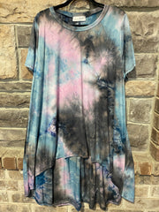 PSS-O {Eye Of The Storm} Blue/Lilac/Gray HI-Lo Tie-Dye Top PLUS SIZE 1X 2X 3X