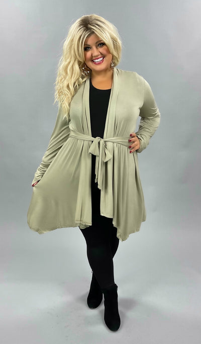 41 OT-E {Enamored With You} Taupe Tie Front Cardigan PLUS SIZE XL 2X 3X
