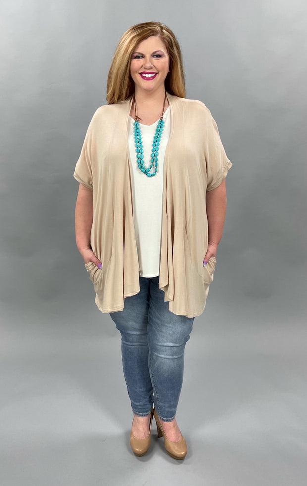 41 OT-W[The  Wind Blows} Short Sleeve Taupe Cardigan