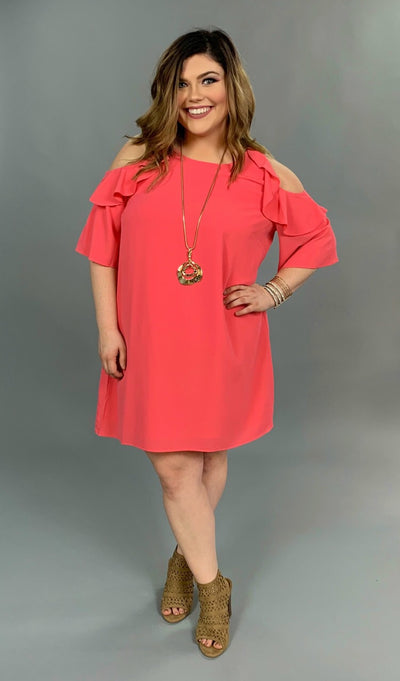 "OS-L {Material Girl} ""UMGEE"" Coral Pink Cold-Shoulder Dress SALE!"