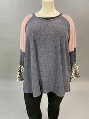 42 CP-R {Strut Like You}  SALE!! Grey Pink Leopard Ruffle Top CURVY BRAND EXTENDED PLUS SIZE 3X 4X 5X 6X