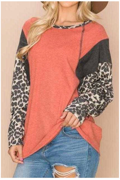 CP-G {Every Adventure} Orange Grey Leopard Waffle Knit Top PLUS SIZE XL 2X 3X 4X 5X 6X