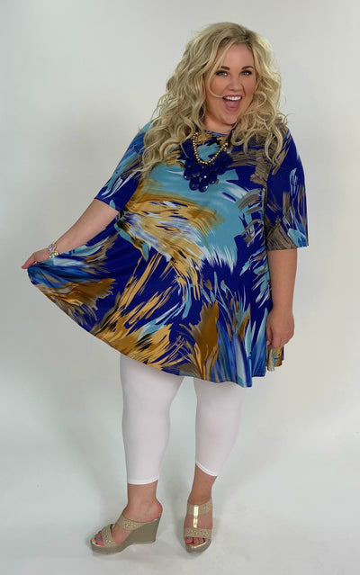 PSS-B {Waiting For You} Blue/Multi Print Top with Pockets Extended Plus