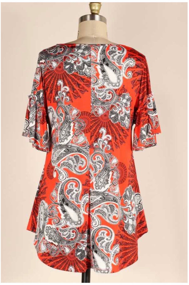 PSS-L {A Little Spicy} Red Orange Paisley Print Tunic PLUS SIZE 1X 2X 3X