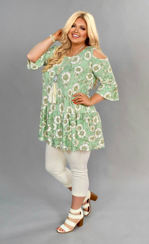 OS-K {Tell Me Why} Pistachio Floral Cold-Shoulder Tunic or Dress SALE!!