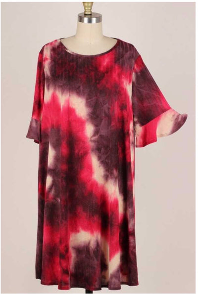 45 PSS-F {What To Wear??} Burgundy/Wine Tie Dye Print Dress Extended Plus 3X 4X 5X