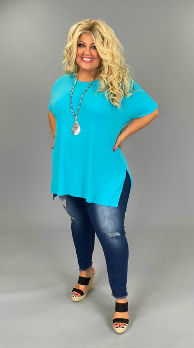SSS-B (Gotta Have It) SALE!! Ice Blue Top With Cuffed Sleeve PLUS SIZE 1X 2X 3X
