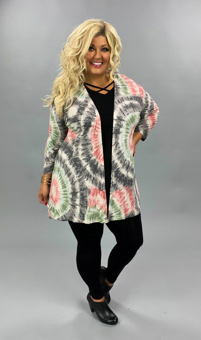 OT-B {Follow Your Bliss} Mauve & Grey Tie Dye Cardigan PLUS SIZE 1X 2X 3X