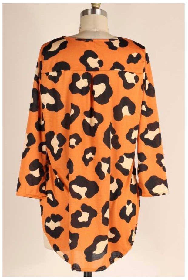 PQ-Z {Ready To Fall} Burnt Orange Leopard Spot Tunic PLUS SIZE 1X 2X 3X