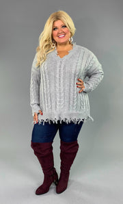 SLS-S {Time Well Spent} GRAY V-Neck Frayed Sweater  SALE!!