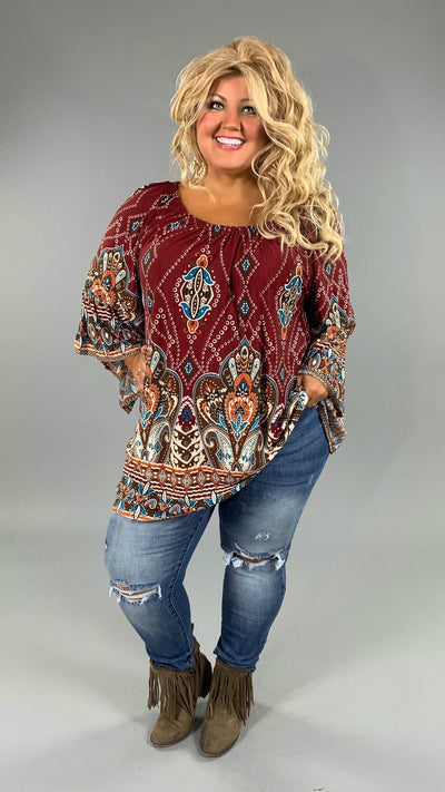 PQ-R {Extended Plus} Burgundy Bohemian Jewel Tunic with Bell Sleeves