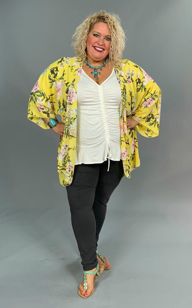 OT-V {Sun-Shiny Day} Yellow Floral Print Wide Sleeve Cardigan