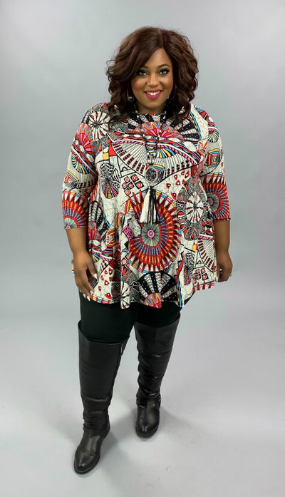 PQ-T {Getting Results} Red Gold Ivory Geo Print Tunic EXTENDED PLUS SIZE 3X 4X 5X