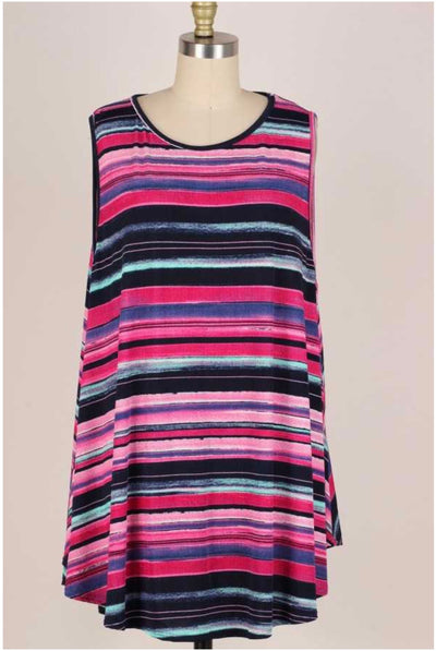 62 SV-A {Ahead Of The Times} Multi-Striped Sleeveless Top EXTENDED PLUS 3X 4X 5X