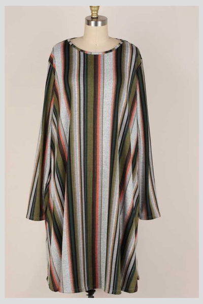 PLS-G {Completely Yours} Grey Green Stripe Knit Dress EXTENDED PLUS SIZE 3X 4X 5X
