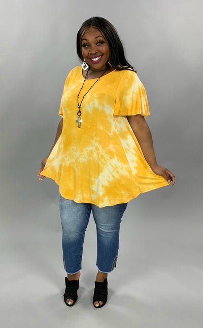 PSS-M {Sunkissed Glow} Yellow Tie Dye Flutter Sleeve Tunic PLUS SIZE 1X 2X 3X SALE!!