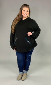 HD-W {Feel The Romance} Black Hoodie Blue Plaid Contrast EXTENDED PLUS SIZE 4X 5X 6X SALE!!