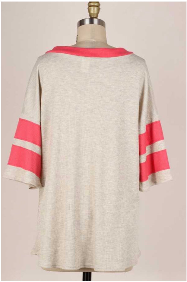 61 CP-C {Keep It Casual} Beige Coral Contrast V-Neck Top PLUS SIZE 1X 2X 3X