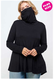 16 SLS-P {Love Me Still} Black Top With Face Mask  PLUS SIZE XL 2X 3X