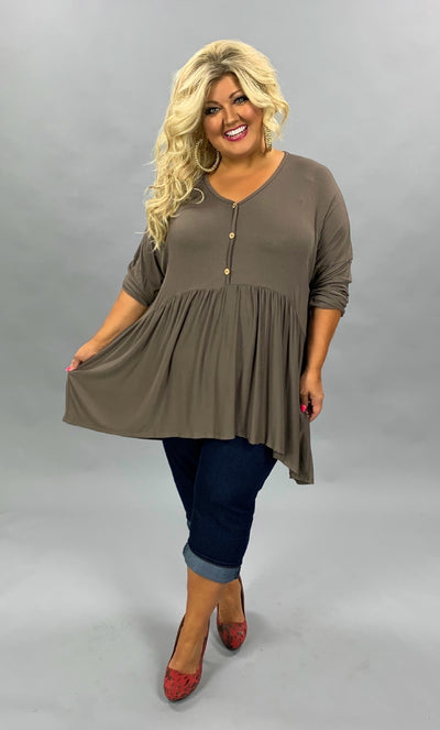 SLS-N {Not So Simple} Mocha Babydoll Hi-Lo Top with Buttons Extended Plus Size SALE!!