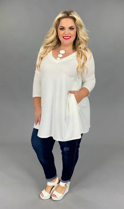 SQ-H {Let Me Simplify} IVORY V-Neck Tunic with Side Pockets  SALE!!