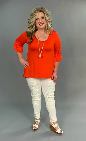 "SQ-Z ""Take All Of Me"" Orange Hi Lo Ruffle Detail  SALE!!"