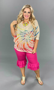 PSS-D {Colors Of The Wind} Tan Tunic Multi Color Swirl Tie Dye PLUS SIZE 1X 2X 3X