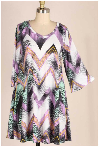 PQ-A {Animal Instincts} Lilac/Mint Dress PLUS SIZE