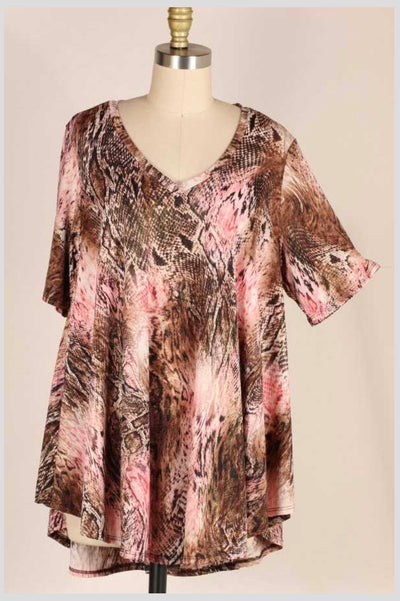 PSS-A{Call Me Back}Brown/Pink Snakeskin Tunic EXTENDED PLUS SIZE 3X 4X 5X