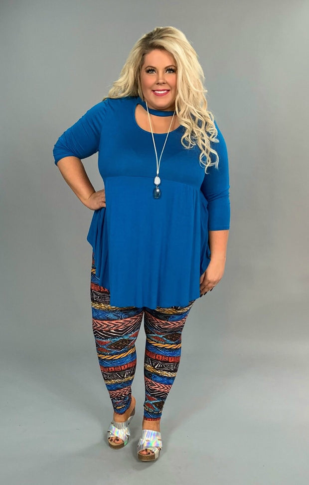 LEG/24 {Tribe of Peace} Kyra Blue/Rust Tribal Print Leggings
