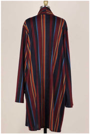 11-14 OT-C {Blurred Lines} Navy Mustard Striped Cardigan EXTENDED PLUS SIZE 3X 4X 5X