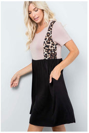 CP-C {Little Spot} Tan/Black/Leopard Contrast Dress PLUS SIZE 1X 2X 3X SALE!!