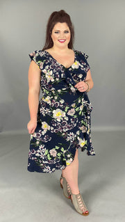 LD-M {After Midnight} Navy Floral Print Wrap Dress EXTENDED PLUS SIZE 4X SALE!!