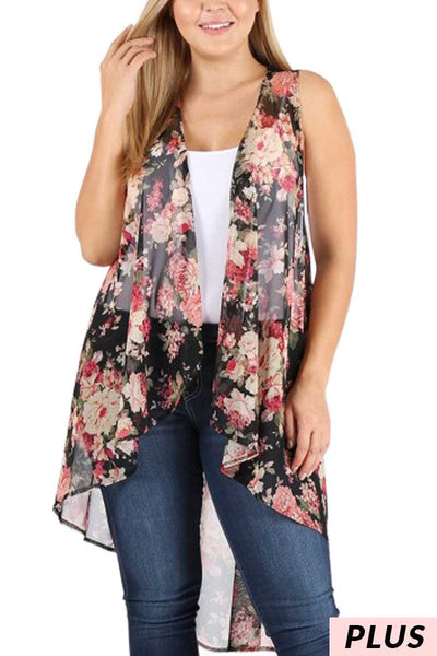 OT-Y {Can't Buy Me Love} Sheer Black Floral Vest PLUS SIZE (One Size Fits Most)
