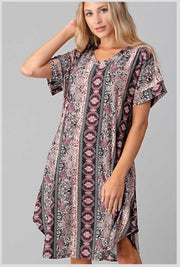 PSS-Z {Gypsy Girl} SALE!! Black, Ivory, Purple Multi Print Dress PLUS SIZE 1X 2X 3X