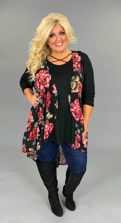 OT-L {Love You Near Me} Long Black Floral Print Vest PLUS SIZE 3X