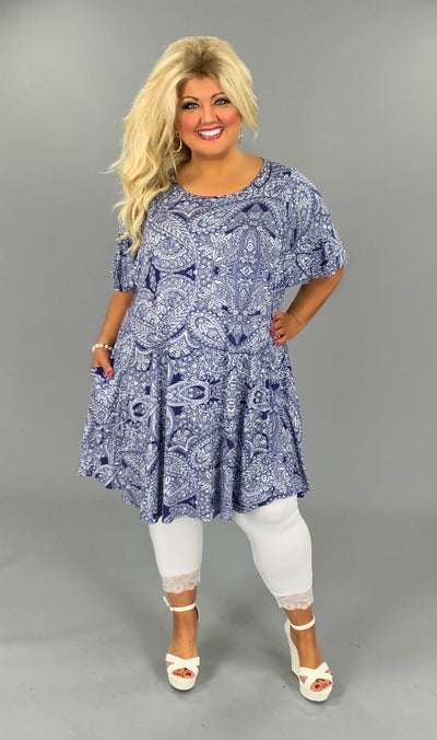 PSS-F (Always Pretty) Blue & Ivory Paisley Dress W/ Pockets EXTENDED PLUS 3X 4X 5X