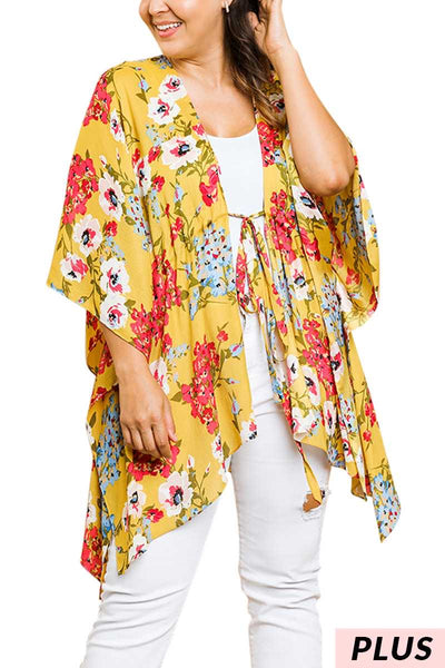 65 OT-N {Golden Coast} UMGEE Yellow Floral Cardigan PLUS SIZE XL 1X 2X