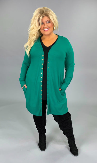OT-E {Timeless Moves} Long Green Cardigan with Snap Front