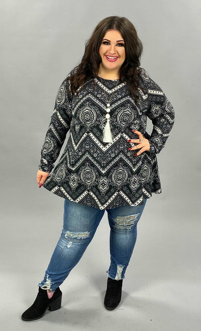 37 PLS-C {First Look At It} Black White Printed Top EXTENDED PLUS SIZE 3X 4X 5X