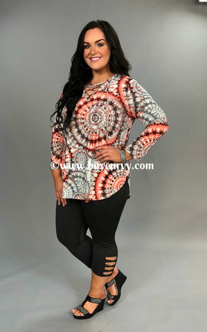 PLS-I Coral/Charcoal Geo-Print Tunic with Corset V-Neck SALE!!