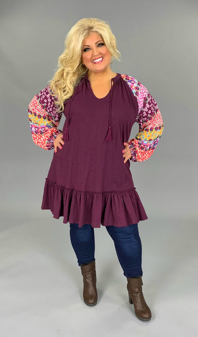 "CP-Q {Crazy Kool} ""UMGEE"" Plum Dress with Floral Sleeves PLUS SIZE XL 1X 2X"