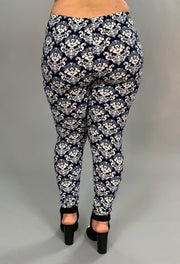 BT/G-Blue & White Damask Print Leggings PLUS SIZE