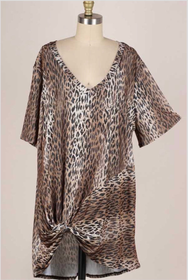 61 PSS-D {Cool Cat} Brown Leopard Knot Detail V-Neck Tunic EXTENDED PLUS 3X 4X 5X