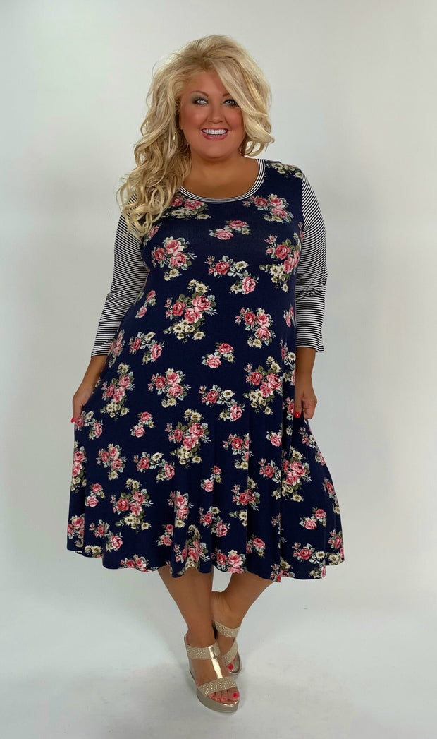 CP-E {Don't Make Me Cry} Navy Floral Print Striped Sleeves Tunic