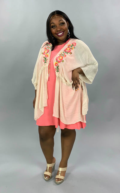 "OT-D{Vanilla Skies}""Umgee"" Cream Kimono w/ Embroidery Detail XL 1X 2X SALE!!"